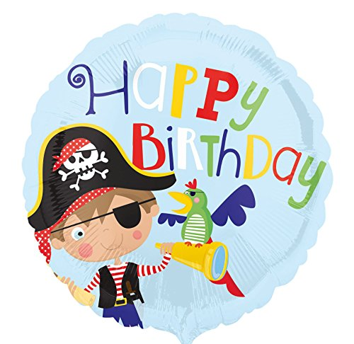 e Pirate Happy Birthday Folienballon, Mehrfarbig ()