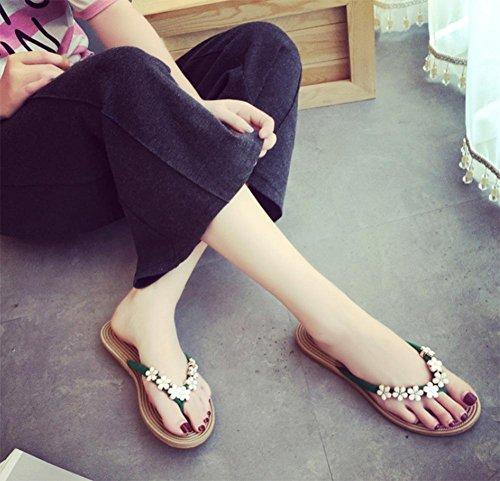 Mme sandales plates florales des sandales plates et pantoufles sandales et chaussures confortables femmes Green