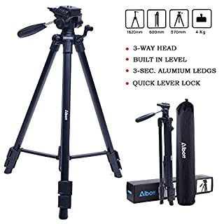 Alboot Fotostativ Action 163 3D (Höhe 56–163 cm, 3-Wege Kugelkopf, Gummifüße und Spikes, Belastbarkeit bis 4 kg, Gewicht 1200 g leicht, Kamera Stativ inkl. Tragetasche) schwarz