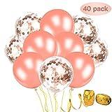 JUCERS Konfetti Ballons 40 Stück 12 Zoll Transparente Pailletten Latex Glitter Luftballons mit Free 2 Curling Ribbon für Geburtstagsfeier Hochzeit Party Valentinstag Dekorationen Roségold