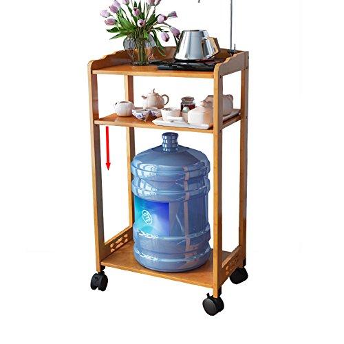 herausschiebbarer entfernbarer Speicher-Turm-Küchen-Schlafzimmer-Speicher-Zahnstangen-Badezimmer-Gestell mit Rädern Bambus (größe : D) ()