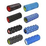 Foamroller Massagerolle Pilatesrolle Schaumstoffrolle von POWRX (Blau - Gerillt)