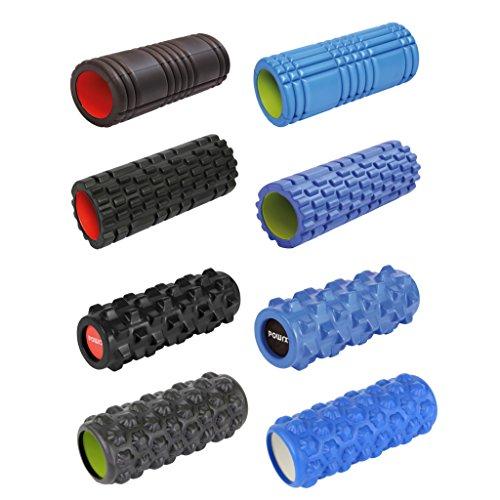 Foamroller Massagerolle Pilatesrolle Schaumstoffrolle von POWRX (Schwarz - Gerillt)