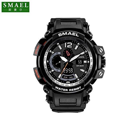 4 Farben SMAEL Multifunktionale Dual Display Sportuhr Wasserdichte Elektronische Armbanduhr(Schwarz-Weiss)