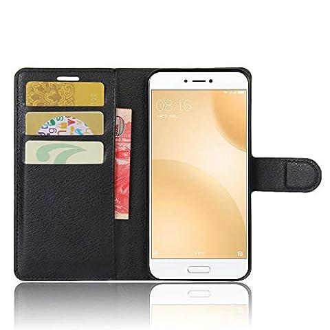 SMTR Samsung Galaxy Xcover 4 Coque PU Cuir Flip Housse Étui Cover Case Wallet Portefeuille Supporter avec Carte de Crédit Fentes pour Samsung Galaxy Xcover 4 -Noir