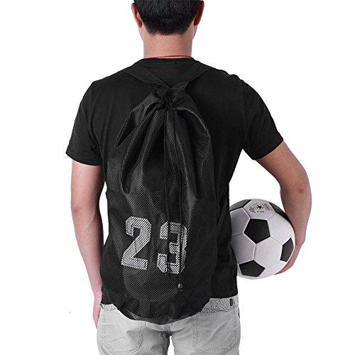 Kordelzug Rucksack Taschen Fußball/Fußball Mesh Ball Tasche Training Ausübung Mesh Rucksack Schulter Kordelzug Tasche für Sport Basketball Fußball Fußball(Black)