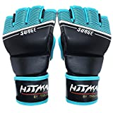 Hitman GB04674 Micro Leather Surge Print MMA Gloves, Medium (Black/Sky)