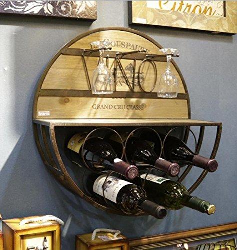 Leiona Europäischen Stil Retro Runde Wand Multifunktions Weinregal Kelche Draht Massivholz, 5 Flaschen Wein, Racks Home Dekor Akzenten-Ornamente,50 * 54 * 16cm -