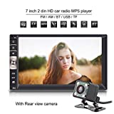 Qiilu Universale 7 Pollici 2 Din HD Bluetooth Auto Stereo DVD Touch Screen MP5 Lettore USB/TF FM Aux Ingresso TV Radio Intrattenimento Multimedia con HD Telecamera Posteriore