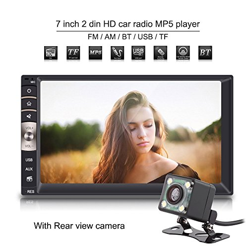 Qiilu Universal Multimedia Player MP5-7 Inches 2 DIN HD Bluetooth Touch Screen USB / TF FM Aux Radio Input MP5 Player with Rear View Camera for Car