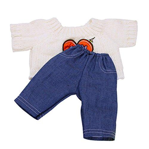 MagiDeal Lässige Strickwaren Pullover Top und Jeans Hosen Kleidung für Puppe Dress Up Zubehör Adorable Set Hose Shirt