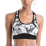 Yvette Damen Starker Halt Sport BH Gekreuzt Rücken Große Größen Ohne Bügel Bustier für Fitness Lauf Yoga, Splash Tinte
