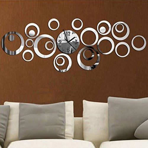 Hrph New Circle 3D DIY Wanduhr Modernes Design Acryl Spiegel Wandtattoo -Kunst-Aufkleber für Home Office Dekoration