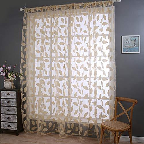 Be&xn trasparente le tende foglie lunghe ricami tende trasparenti voile per camera da letto finestra cura set foglia pura, 1 pannello-beige w100xh270cm(39x106inch)
