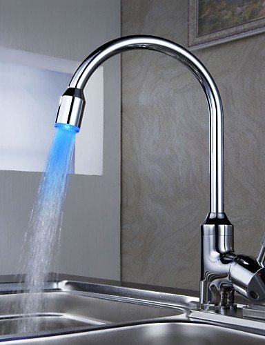AI LI WEI Bathroom Furniture - Contemporary Brass Kitchen Faucet with Color Changing LED Light
