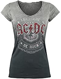 AC/DC Let There Be Rock Girls Shirt Grey-Dark Grey