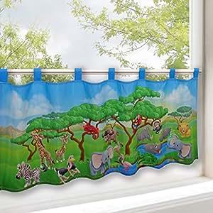 rideau brise bise animaux safari pour chambre d 39 enfant 45x120 cm rideau bistrot moderne. Black Bedroom Furniture Sets. Home Design Ideas