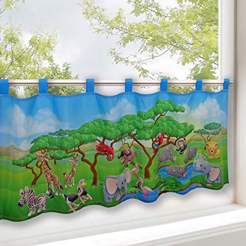 Tenda per finestre animali safari, adatta a stanza dei bambini e salotto / tenda con motivo animali / 45x120 cm / tendina moderna