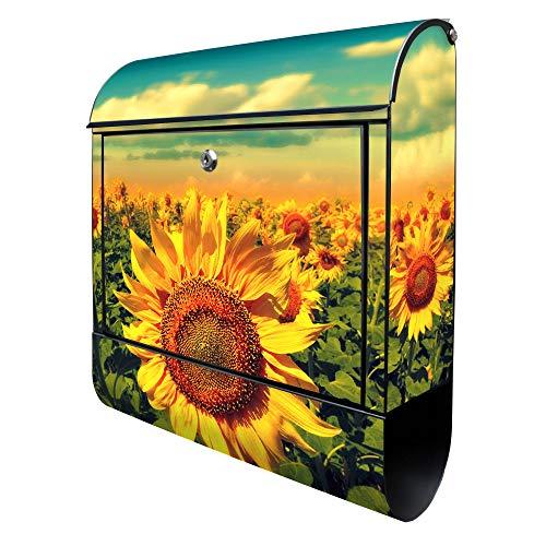 BANJADO Design Briefkasten schwarz | 38x47x13cm groß mit Zeitungsfach | Stahl pulverbeschichtet | Wandbriefkasten mit Motiv Sonnenblumen | ohne Standfuß