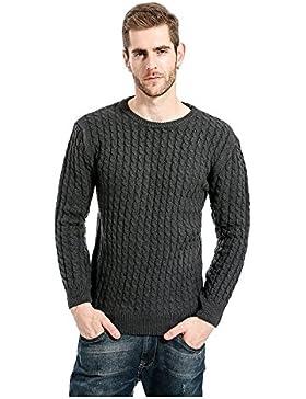 Loose-sbandata maglione uomini maglione sottile di colore solido casual allentato scollo rotondo, grigio scuro...