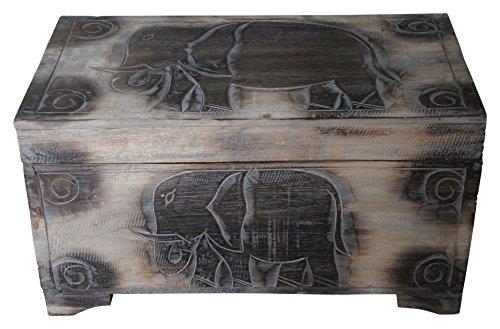 Wohnkult Holz Truhe Elefant Schatztruhe 60 cm Kiste aus Palmenholz Antik Handarbeit