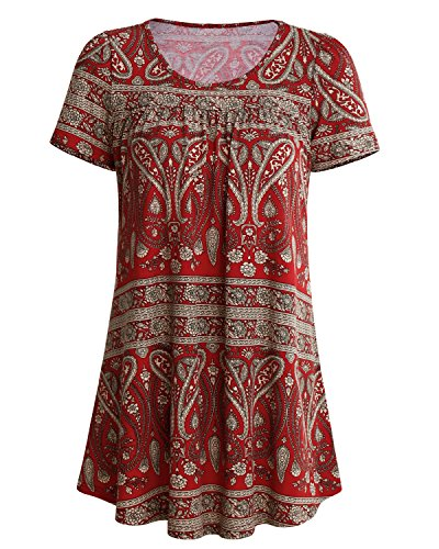 SOLERSUN Women's Summer Short Sleeve Pleated Blouse Shirts Casual Floral Printed Tunic Tops