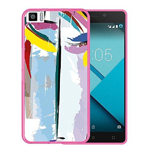 Bq Aquaris M5.5 Hülle, WoowCase Handyhülle Silikon für [ Bq Aquaris M5.5 ] Abstrakte Farben Muster 2 Handytasche Handy Cover Case Schutzhülle Flexible TPU - Rosa