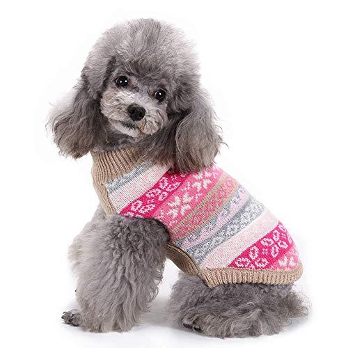 FONLAM Jersey para Perro Cachorro Gato Chaleco Disfraz Ropa Traje de Fiesta Copos de Nieve Navidad Mascota Perro (M, Rosa)