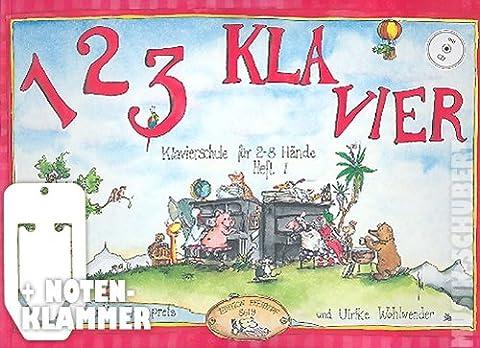 1 2 3 Klavier Band 1 (+CD) inkl. praktischer Notenklammer - die Klavierschule für 6-10 jährige Kinder mit vielen farbigen Illustrationen sowohl für den Gruppen- als auch für den Einzelunterricht (Taschenbuch DIN A4 quer) von Claudia Ehrenpreis und Ulrike Wohlwender (Noten/Sheetmusic)
