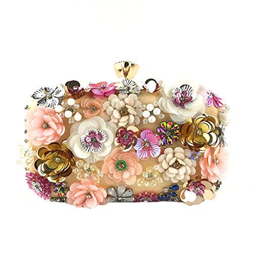 Deloito Damen Blumen Schmuck Kupplungen Handgemacht Kette Clutch Tasche Abendtasche Hochzeit Umhängetaschen Bankett Party Handtasche (Gelb) (Weiße Satin Blume Handtasche)