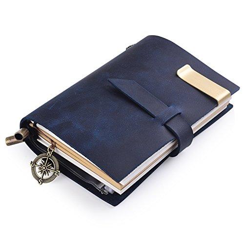7Felicity® klassisches Notizbuch,echtes Leder, 13,5 × 10,2cm nachfüllbare Seiten, Ledertagebuch,100 {6841034ed65b048b77ac19ac89eafc3ef20b68b7f8a59188ee3e88460554df8d} handgefertigt und personalisierbar, altmodisches Design,für den täglichen Gebrauch und als Reisetagebuch verwendbar,Retrojournal, gebundenes Notizbuch, Design Nr. 12S blau