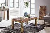 WOHNLING Couchtisch Kalkutta 110 x 47 x 60 cm , Massivholz Wohnzimmertisch Rechteckig , Sofatisch Shabby-Chic Massiv , Beistelltisch aus Bootsholz