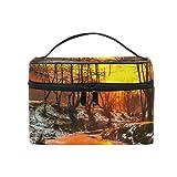 ALAZA Bolsa de Cosméticos Árboles y puesta del sol en frío de aceite de maquillaje Caso de la pintura del paisaje del recorrido del organizador del almacenaje