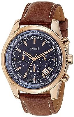 Guess Reloj con Correa de Piel, para Hombre W0500G1