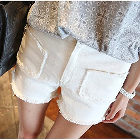 QNQA A hole in the summer mountaineering Denim Shorts New Summer comfortable slim hole all-match white denim shorts