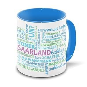 saarland tasse mit typischen w rtern im saarl ndischen dialekt tagcloud wei blau. Black Bedroom Furniture Sets. Home Design Ideas