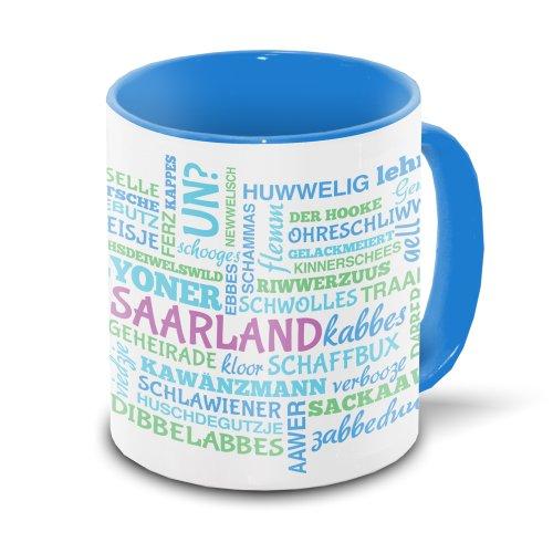 Saarland-Tasse mit typischen Wörtern im saarländischen Dialekt - Tagcloud - weiß/blau