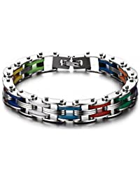 JewelryWe Mens Punk Rainbow Silicone Stainless Steel Bike Bicycle Chain Bracelet, 8.1 Inch
