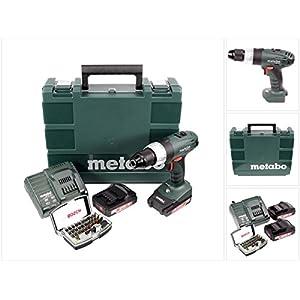 Metabo SB 18 Li 18 V Akku Schlagbohrschrauber + 2x 2,0 Ah Akku + Ladegerät + 32 tlg. Bitset