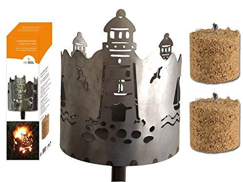Gartenfackel auf Stecker 'Leuchtturm', aus Metall, Höhe: 128 cm , Ø 15cm, INKL. 2 Holzbrennelementen Garten Sommer Fackel Windlicht