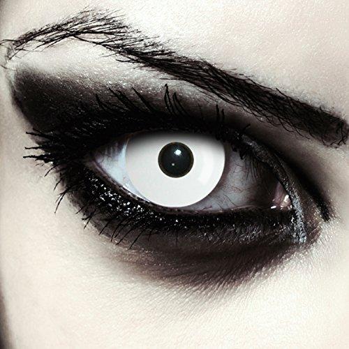 "Lentillas de color blanco totalmente para Halloween zombie lentillas sin dioprtías / corregir + gratis caso de lente ""Whiteout"""