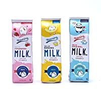 Hacoly Creative Milk Cartons Pencil Case Cartoon Pencil Bags Cute Leather Pencil Pouch Novelty Phone Bag Girls Storage Pouch for Student Kids Office School Supplies (Set of 3)