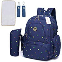 Motherly Stylish Babies Diaper Bags for Mothers with 1 Bottle Bag + 1 Diaper Changing Mat + 1 Set of Stroller Hooks (Blue,Flower)