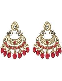 Kiyara Accessories Fashion Jewellery Traditional Alloy Gold And Red Dangle And Drop Classic Kundan Chandbali Earring...