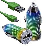 Seluxion - Chargeur Voiture Allume Cigare USB avec Câble Data avec motif CV13 pour Blackberry : Curve 9320 / Curve 9360 / Curve 9380 / Bold 9780 / Bold 9790 / Torch 9800 / Torch 9810 / Torch 9860