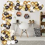 AivaToba Luftballons Schwarz Gold Weiß,45 Stück Ballon Girlande Kit Schwarz Gold Weiß Ballons Arch für Damen Herren Geburtstag Deko, Deko Silvester 2020, Graduierung,Abschluss Halloween Party