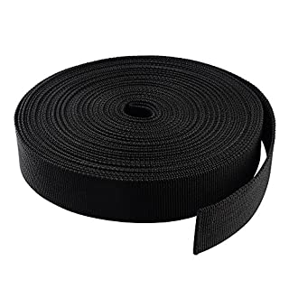 ASIV 10M (11 Yards) 25mm Nylon Bands Heavy Webbing Strap for DIY Craft Backpack Strapping Apron Bunting, Black