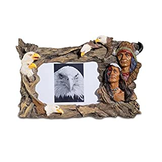 Native American Indian and Eagle Picture Photo Frame Ornament