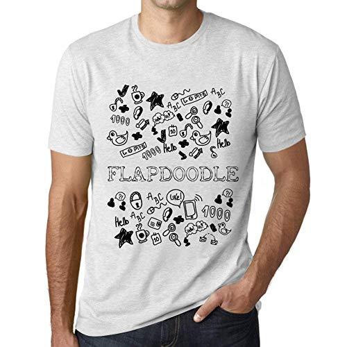 Flapdoodles Rock (Herren Tee Männer Vintage T Shirt Doodle Art FLAPDOODLE Weiß Gesprenkelt)