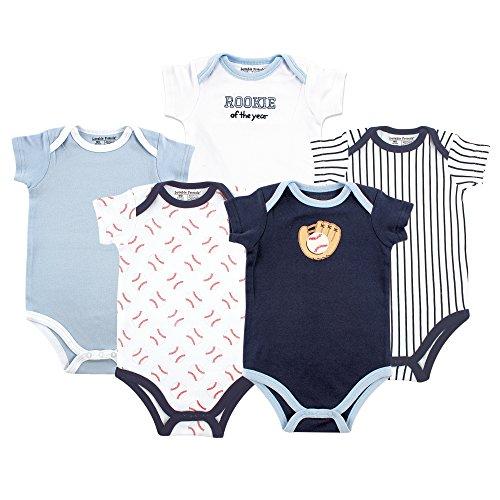 Luvable Friends Baby Infant 5 Pack Bodysuits, Baseball, 0-3 Months Baseball Infant Bodysuit